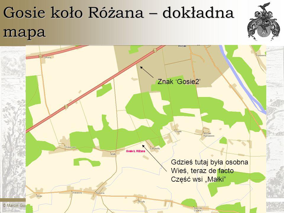 Gosie koło Różana – dokładna mapa