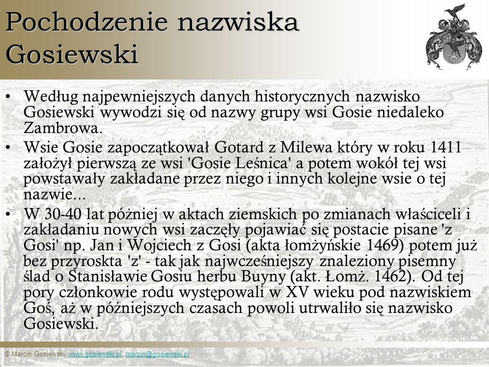 Pochodzenie nazwiska Gosiewski