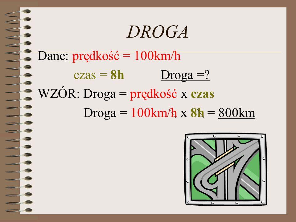 DROGA Dane: prędkość = 100km/h czas = 8h Droga =