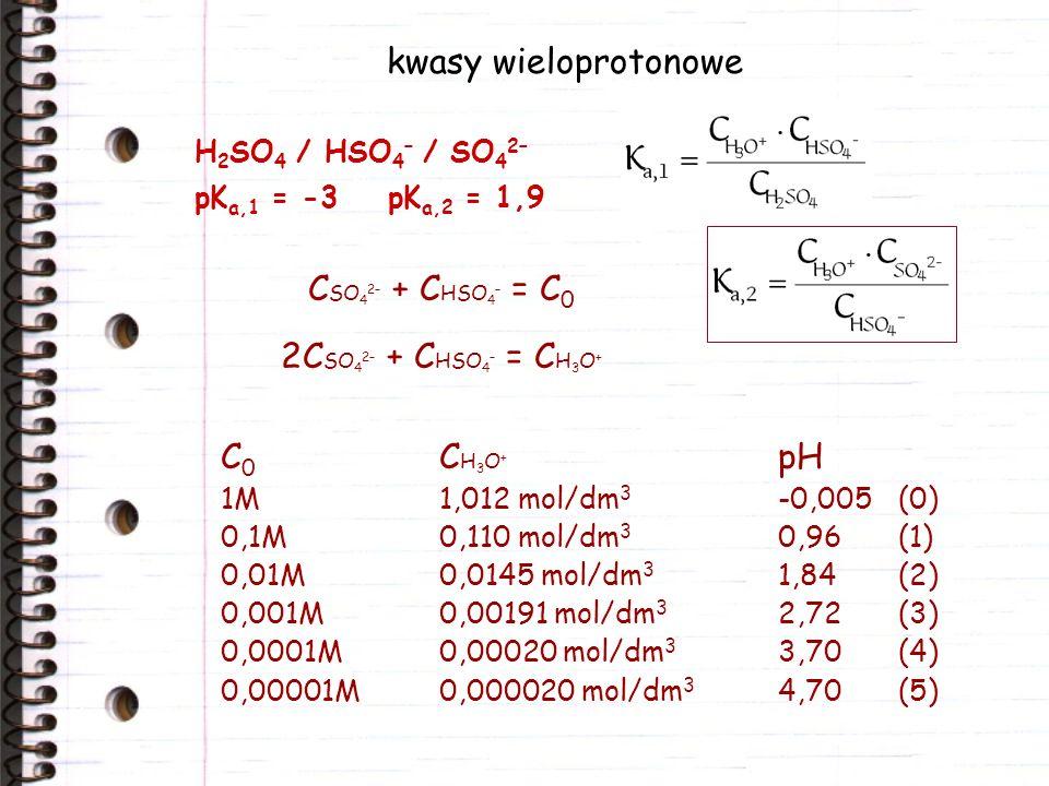 kwasy wieloprotonowe CSO42– + CHSO4– = C0 2CSO42– + CHSO4– = CH3O+