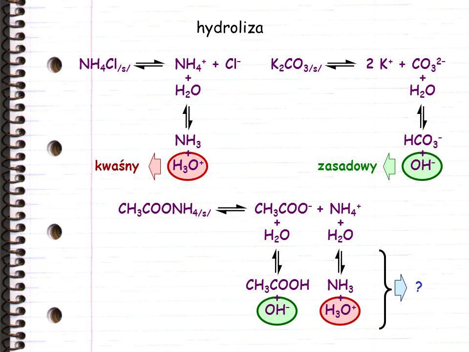 hydroliza NH4Cl/s/ NH4+ + Cl– K2CO3/s/ 2 K+ + CO32– + H2O NH3 H3O+ +