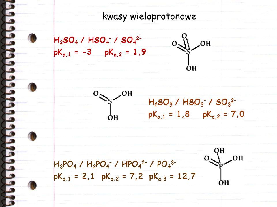kwasy wieloprotonowe H2SO4 / HSO4– / SO42– pKa,1 = -3 pKa,2 = 1,9