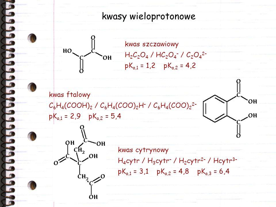 kwasy wieloprotonowe kwas szczawiowy H2C2O4 / HC2O4– / C2O42–