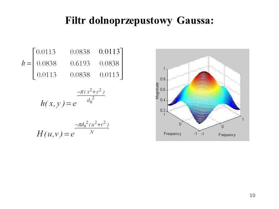 Filtr dolnoprzepustowy Gaussa: