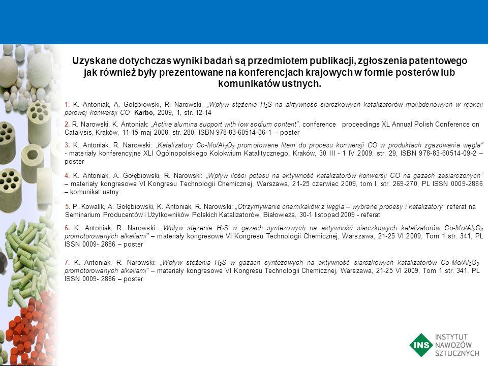 Uzyskane dotychczas wyniki badań są przedmiotem publikacji, zgłoszenia patentowego jak również były prezentowane na konferencjach krajowych w formie posterów lub komunikatów ustnych.