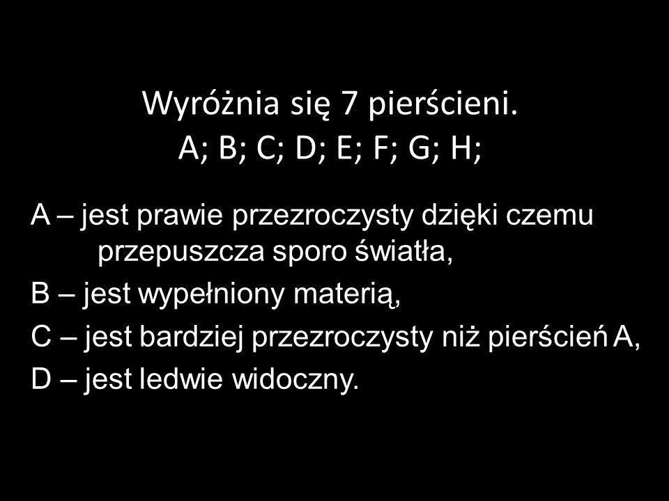 Wyróżnia się 7 pierścieni. A; B; C; D; E; F; G; H;