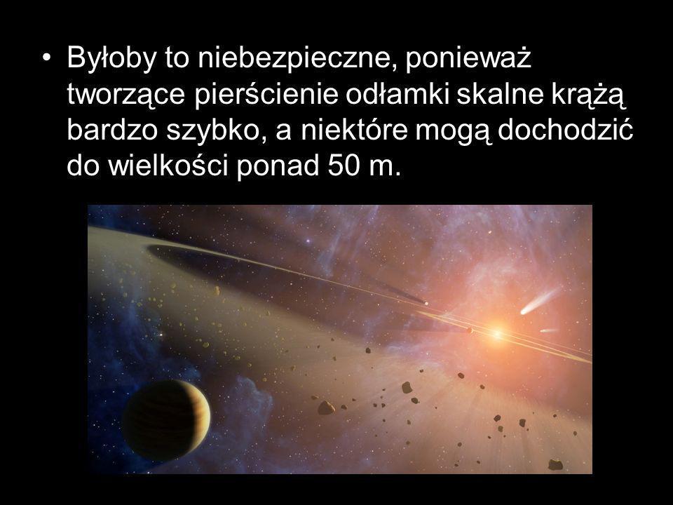 Byłoby to niebezpieczne, ponieważ tworzące pierścienie odłamki skalne krążą bardzo szybko, a niektóre mogą dochodzić do wielkości ponad 50 m.