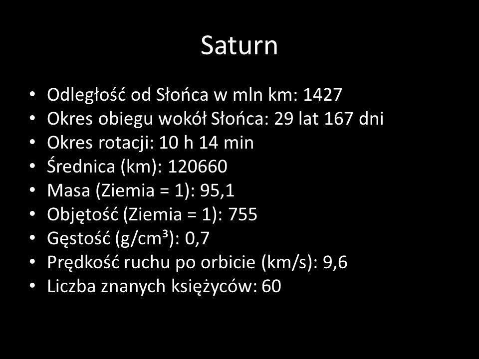 Saturn Odległość od Słońca w mln km: 1427