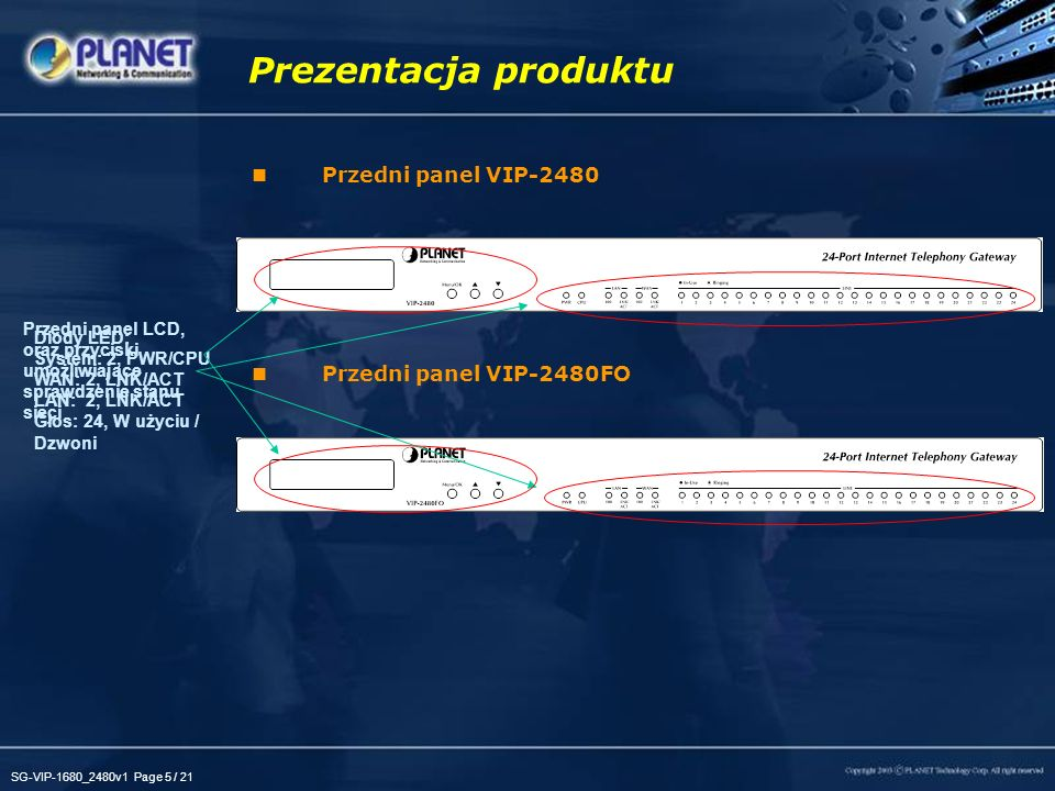 Prezentacja produktu Przedni panel VIP-2480 Przedni panel VIP-2480FO