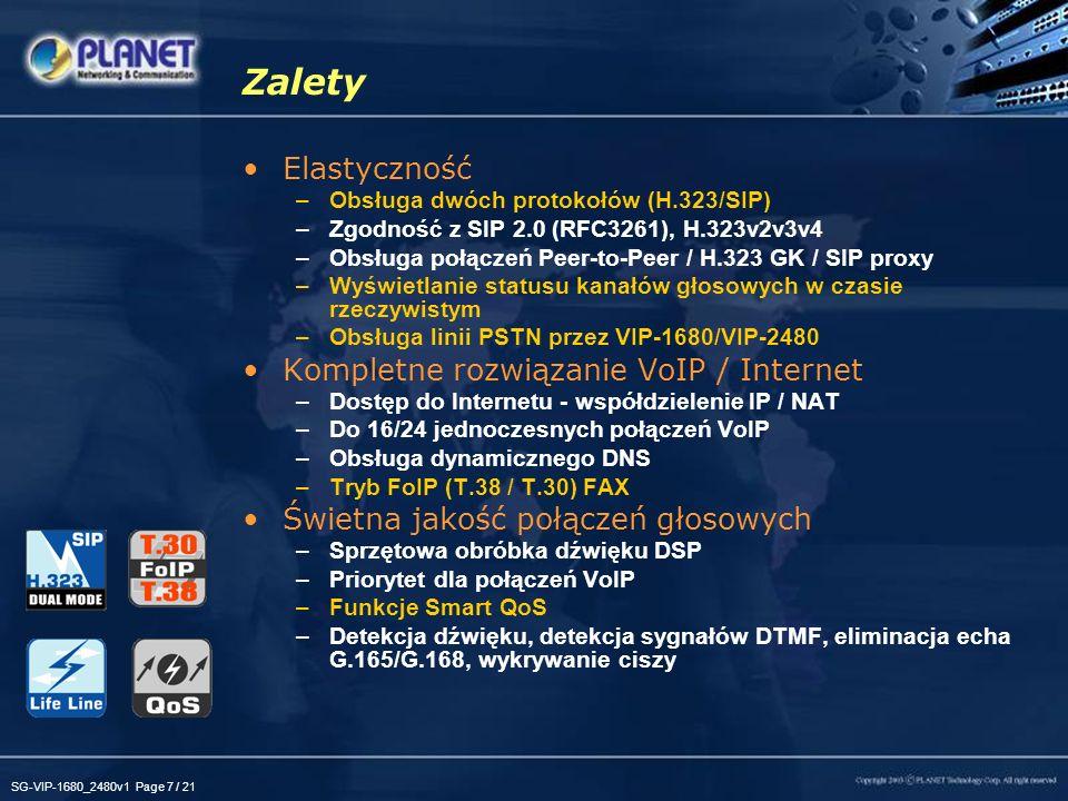 Zalety Elastyczność Kompletne rozwiązanie VoIP / Internet