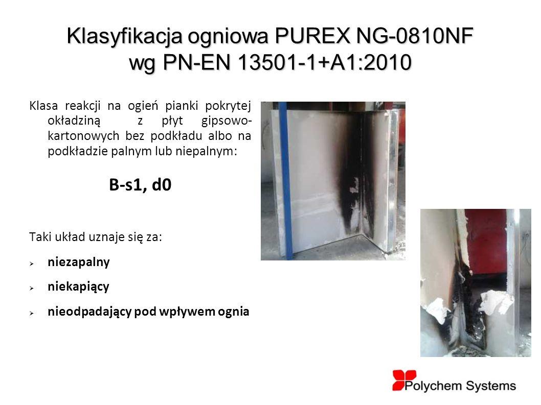 Klasyfikacja ogniowa PUREX NG-0810NF wg PN-EN 13501-1+A1:2010