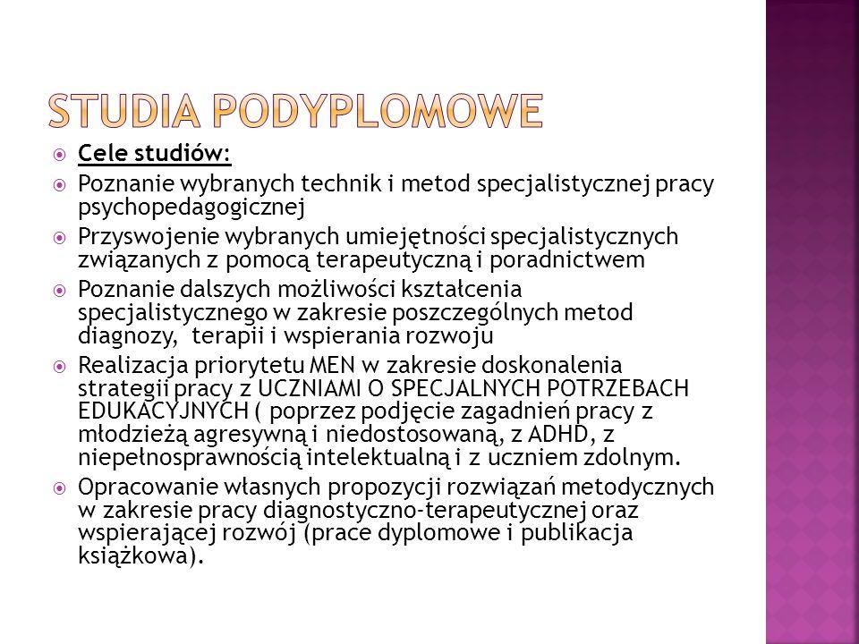 Studia podyplomowe Cele studiów: