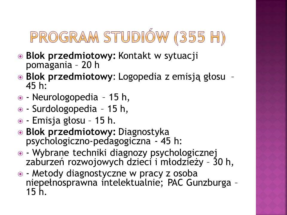 Program studiów (355 h)Blok przedmiotowy: Kontakt w sytuacji pomagania – 20 h. Blok przedmiotowy: Logopedia z emisją głosu – 45 h: