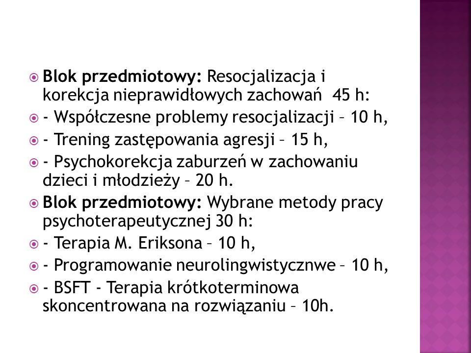 Blok przedmiotowy: Resocjalizacja i korekcja nieprawidłowych zachowań 45 h:
