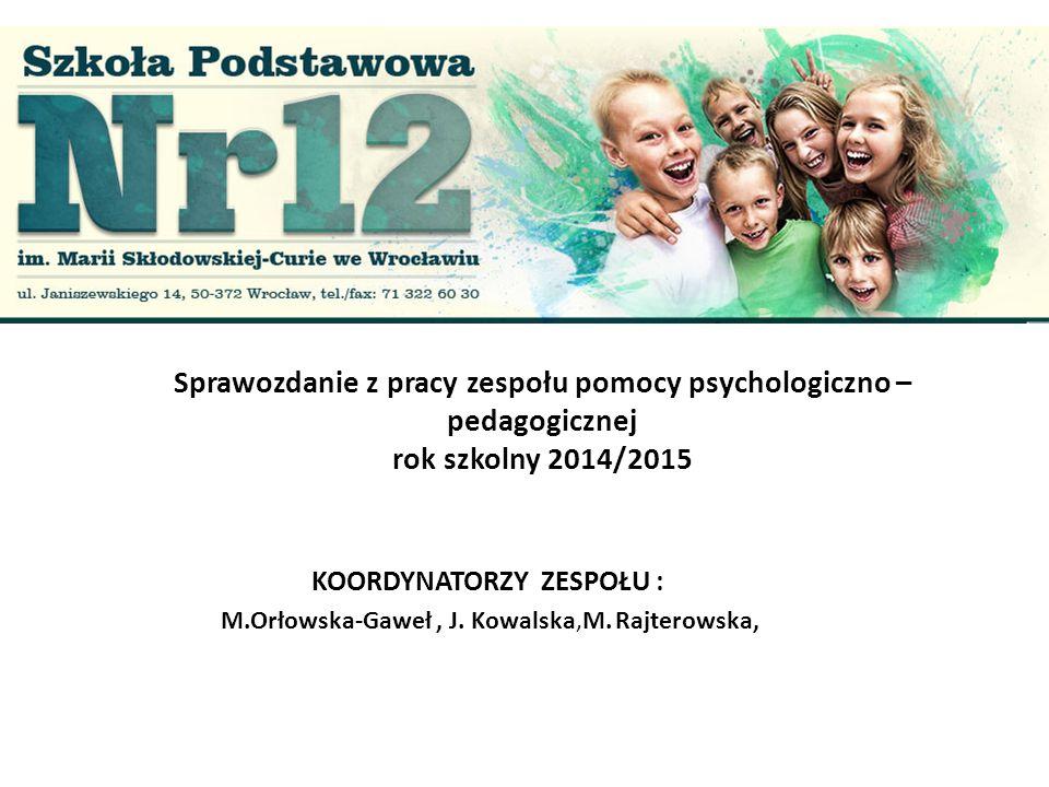 KOORDYNATORZY ZESPOŁU : M.Orłowska-Gaweł , J. Kowalska,M. Rajterowska,
