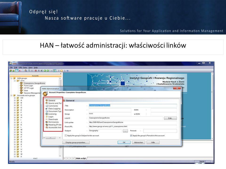 HAN – łatwość administracji: właściwości linków