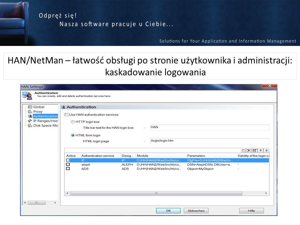 HAN/NetMan – łatwość obsługi po stronie użytkownika i administracji: kaskadowanie logowania