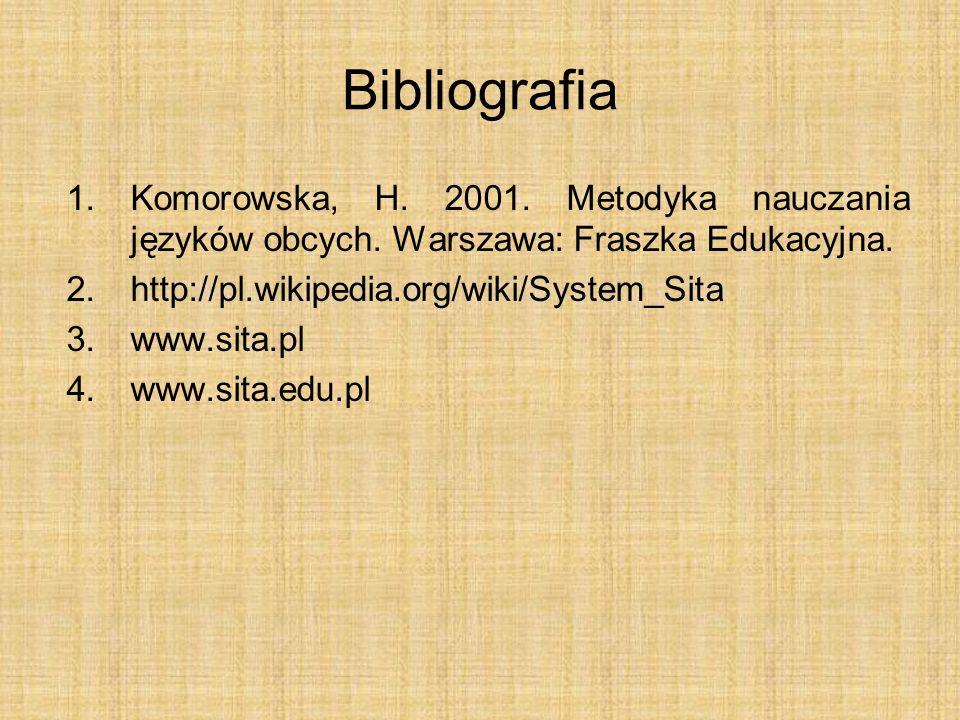 Bibliografia Komorowska, H. 2001. Metodyka nauczania języków obcych. Warszawa: Fraszka Edukacyjna.