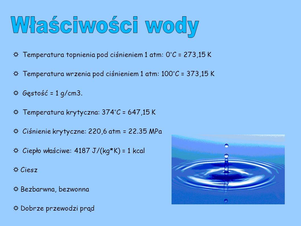 Właściwości wody ☼ Temperatura topnienia pod ciśnieniem 1 atm: 0°C = 273,15 K. ☼ Temperatura wrzenia pod ciśnieniem 1 atm: 100°C = 373,15 K.
