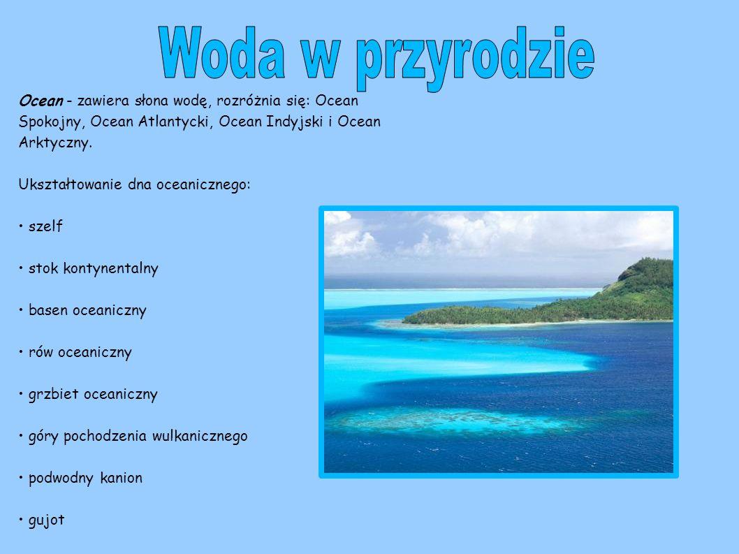 Woda w przyrodzie Ocean - zawiera słona wodę, rozróżnia się: Ocean Spokojny, Ocean Atlantycki, Ocean Indyjski i Ocean Arktyczny.
