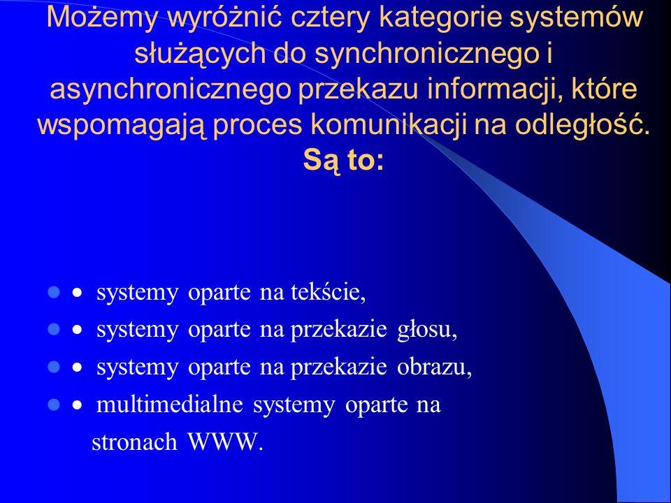 Możemy wyróżnić cztery kategorie systemów służących do synchronicznego i asynchronicznego przekazu informacji, które wspomagają proces komunikacji na odległość. Są to: