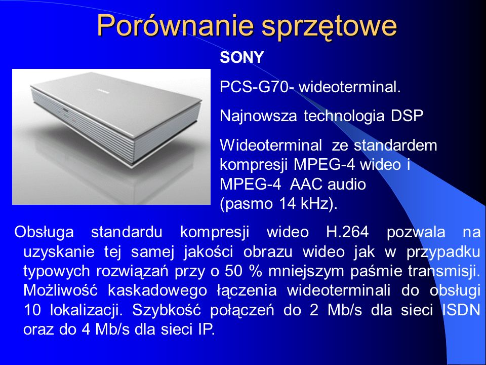 Porównanie sprzętowe SONY PCS-G70- wideoterminal.