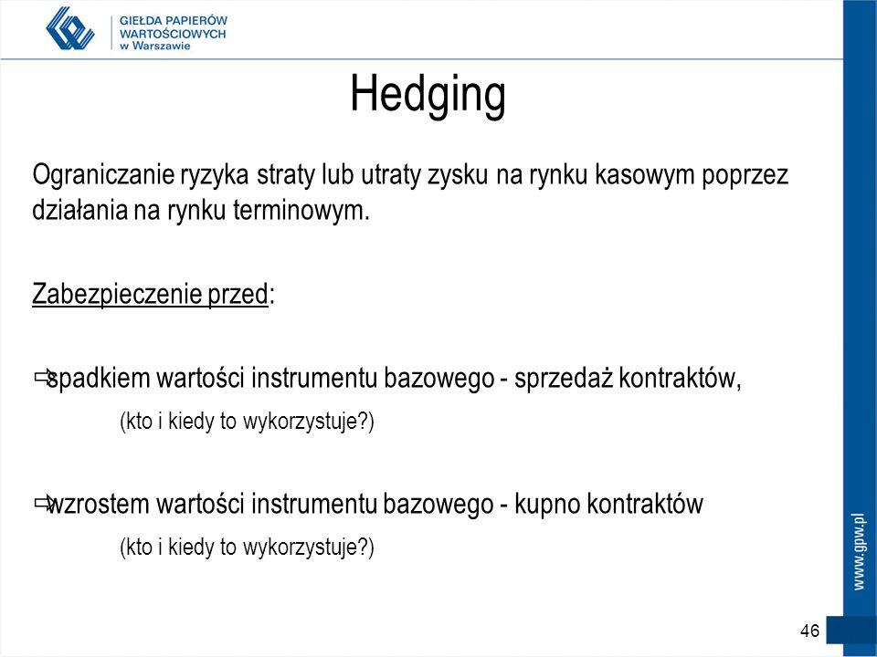 HedgingOgraniczanie ryzyka straty lub utraty zysku na rynku kasowym poprzez działania na rynku terminowym.