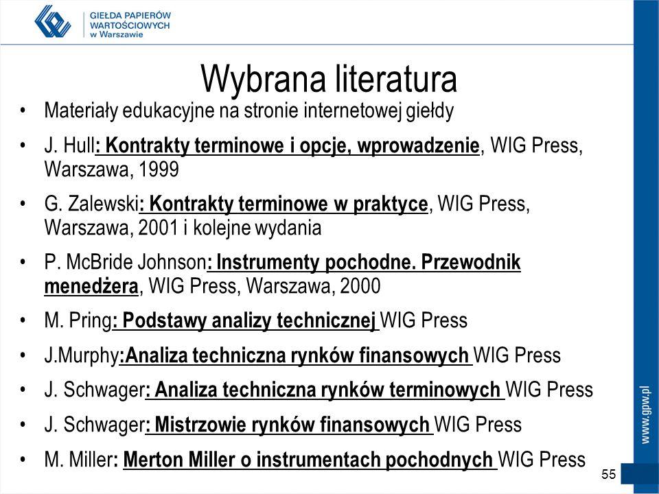 Wybrana literatura Materiały edukacyjne na stronie internetowej giełdy