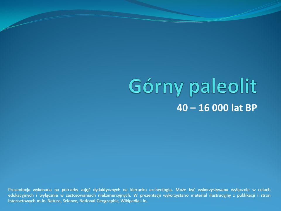 Górny paleolit 40 – 16 000 lat BP.