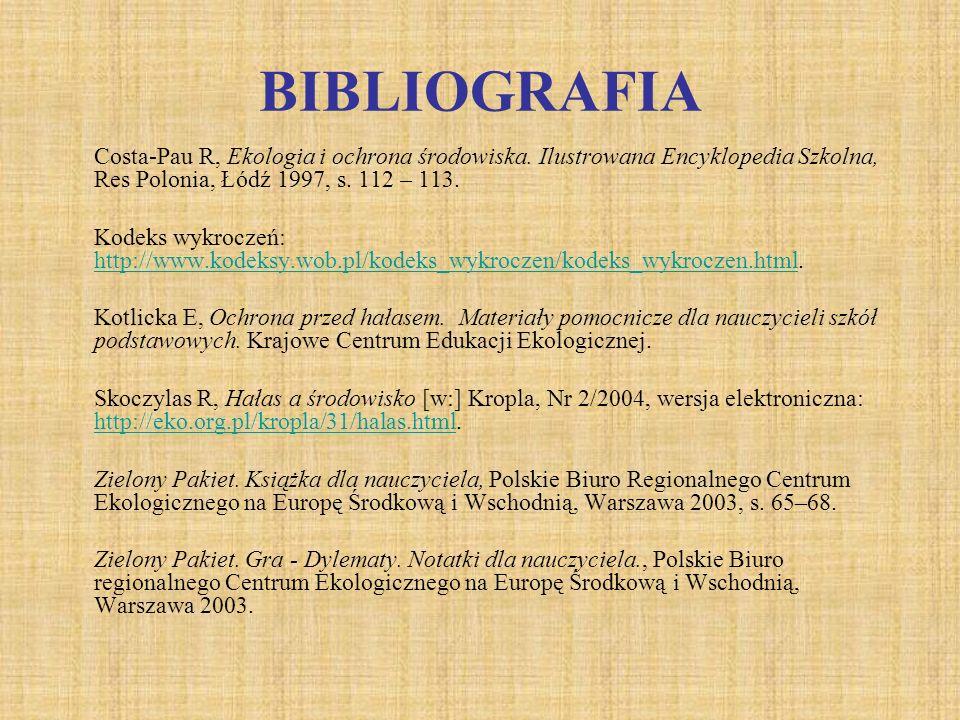 BIBLIOGRAFIA Costa-Pau R, Ekologia i ochrona środowiska. Ilustrowana Encyklopedia Szkolna, Res Polonia, Łódź 1997, s. 112 – 113.