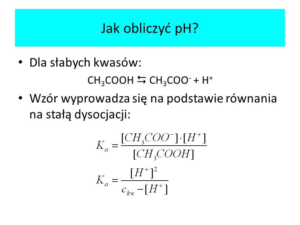 Jak obliczyć pH Dla słabych kwasów: