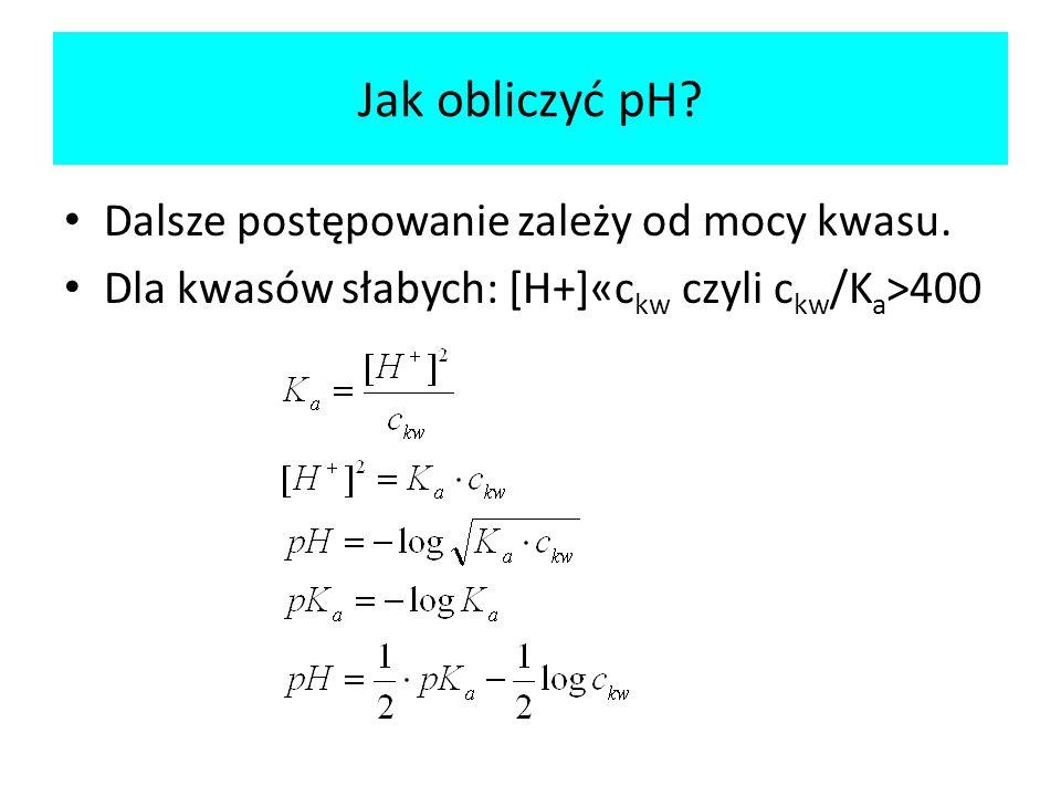 Jak obliczyć pH Dalsze postępowanie zależy od mocy kwasu.