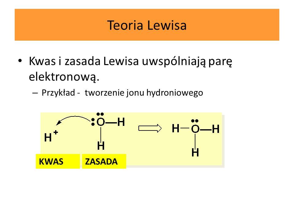 Teoria Lewisa Kwas i zasada Lewisa uwspólniają parę elektronową.