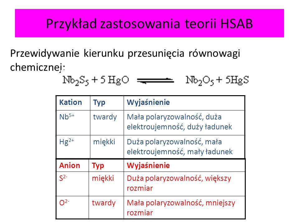 Przykład zastosowania teorii HSAB
