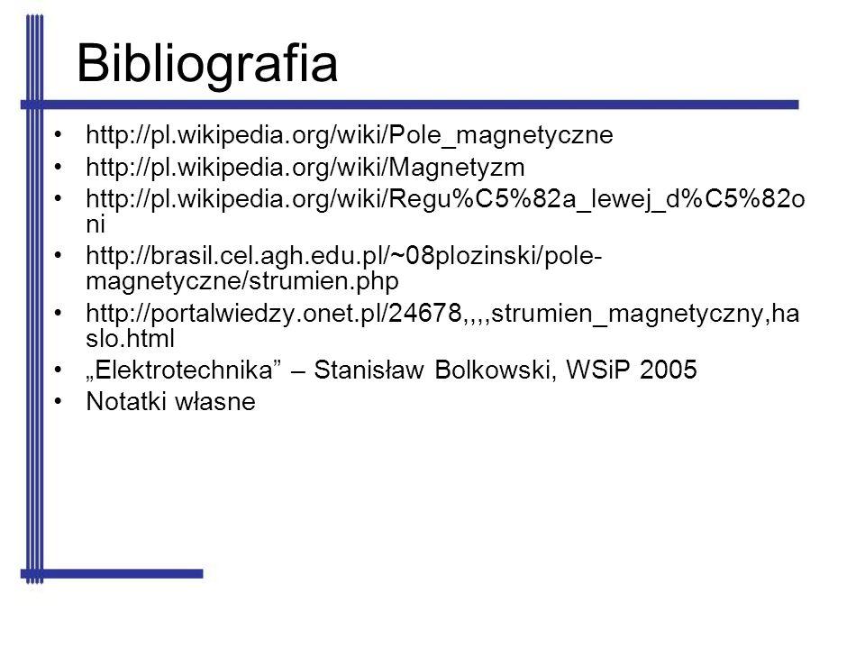 Bibliografia http://pl.wikipedia.org/wiki/Pole_magnetyczne