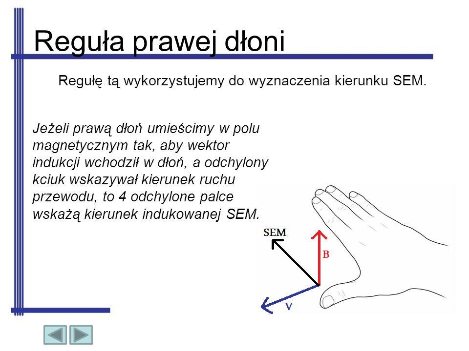 Reguła prawej dłoni Regułę tą wykorzystujemy do wyznaczenia kierunku SEM.