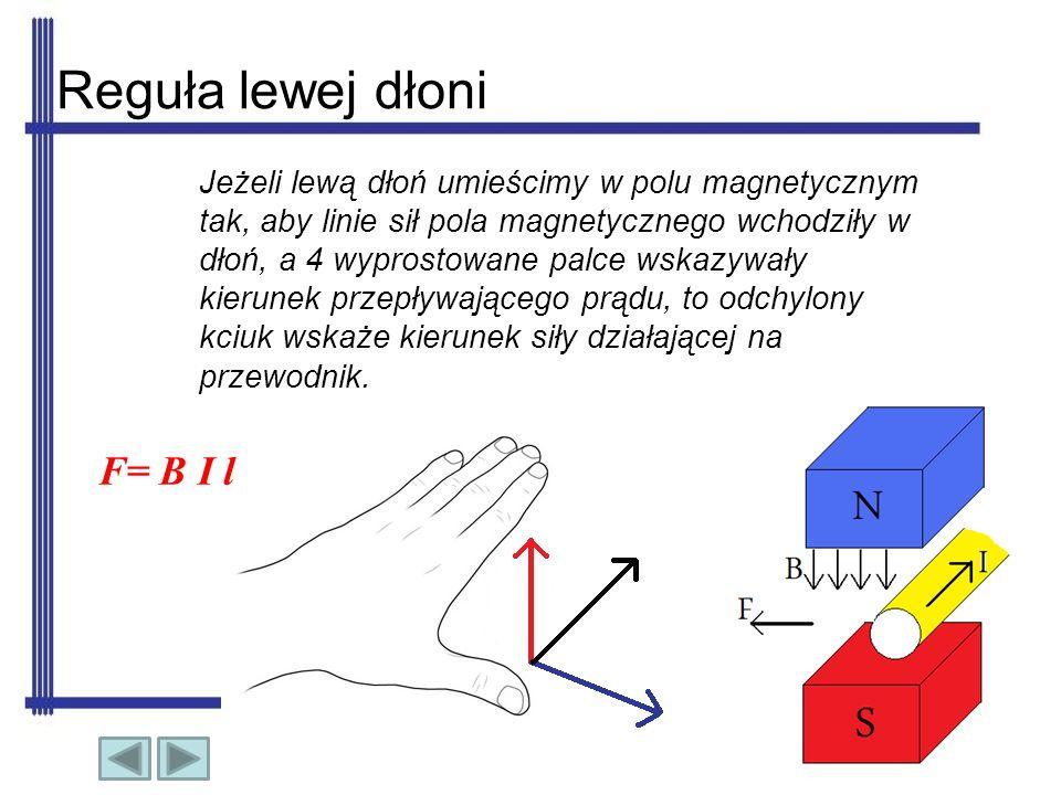 Reguła lewej dłoni F= B I l