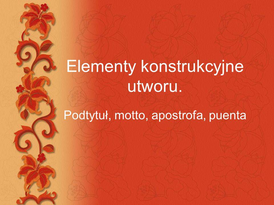 Elementy konstrukcyjne utworu.