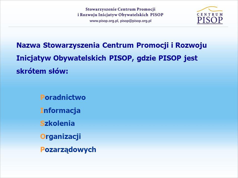 Nazwa Stowarzyszenia Centrum Promocji i Rozwoju Inicjatyw Obywatelskich PISOP, gdzie PISOP jest skrótem słów: