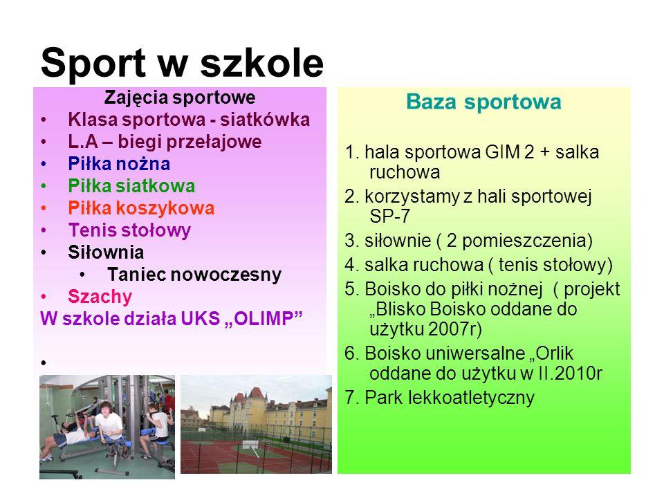 Sport w szkole Baza sportowa Zajęcia sportowe