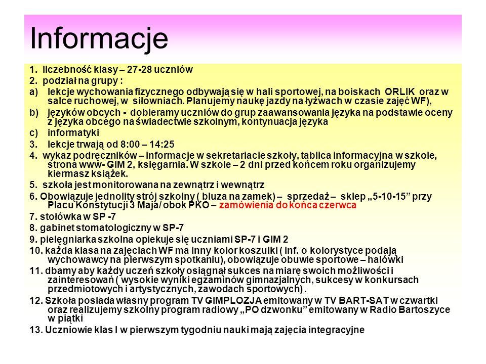 Informacje 1. liczebność klasy – 27-28 uczniów 2. podział na grupy :