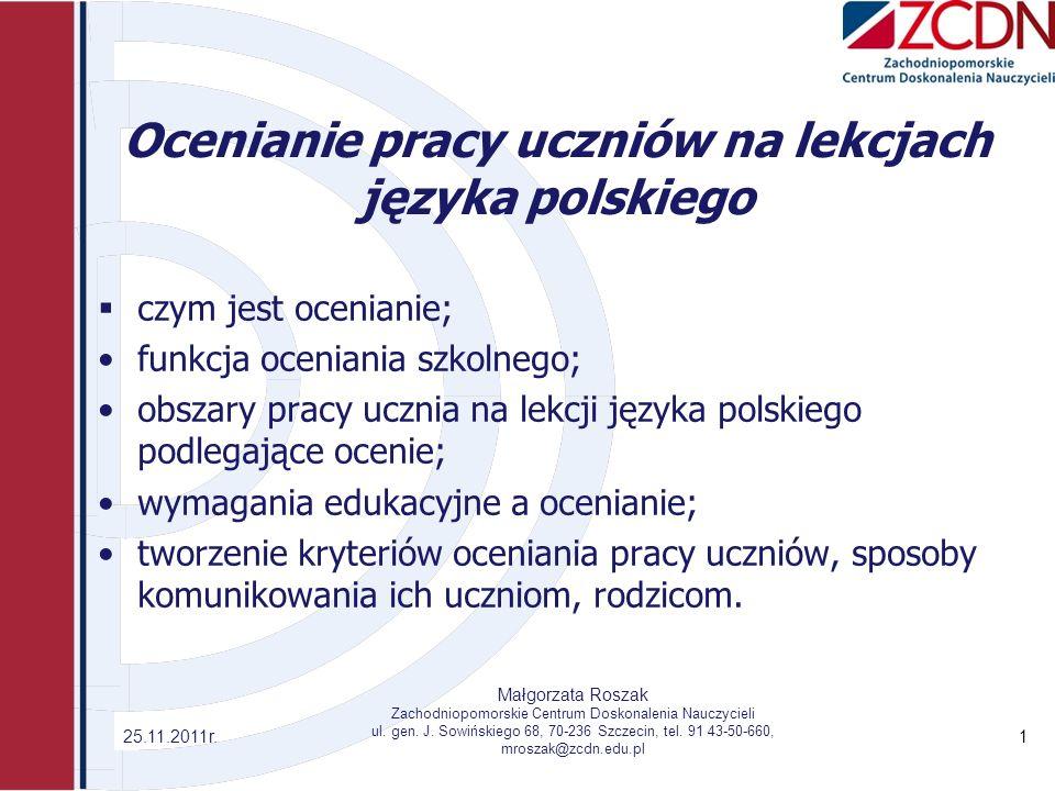 Ocenianie pracy uczniów na lekcjach języka polskiego