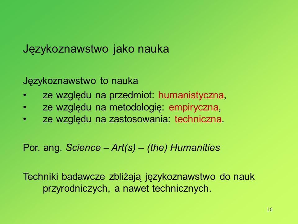 Językoznawstwo jako nauka