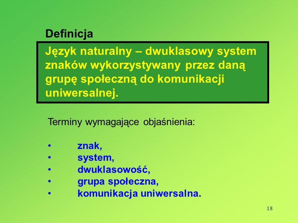 DefinicjaJęzyk naturalny – dwuklasowy system znaków wykorzystywany przez daną grupę społeczną do komunikacji uniwersalnej.