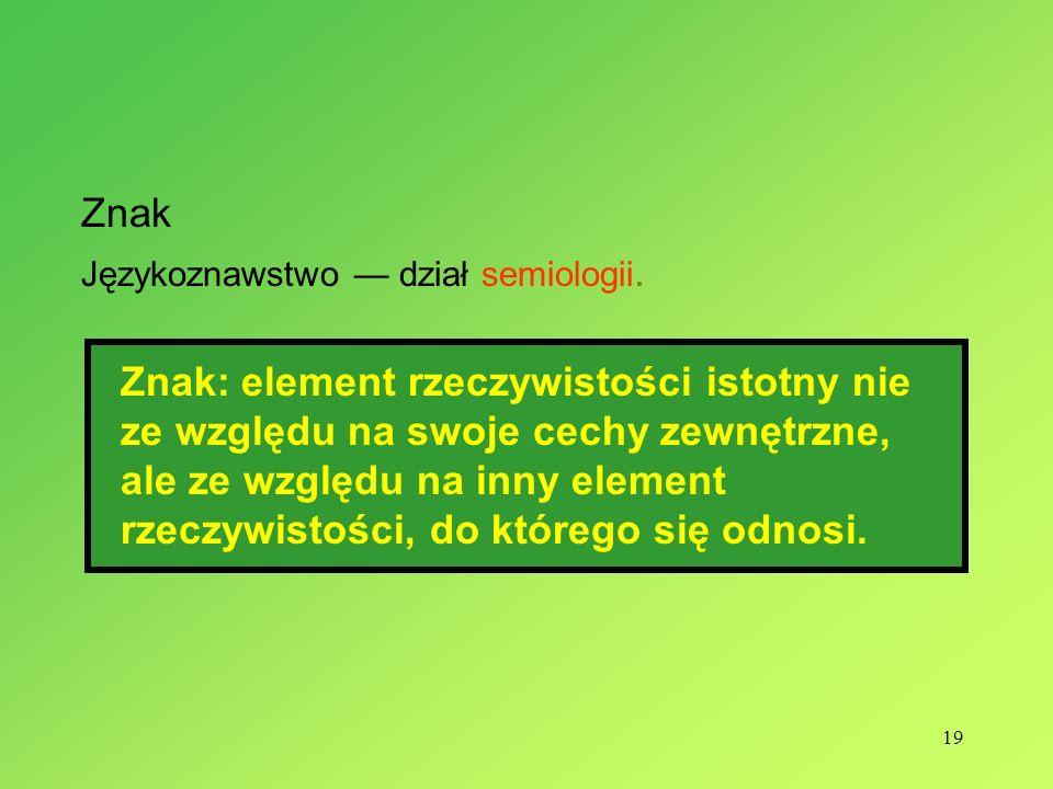 Znak Językoznawstwo — dział semiologii.