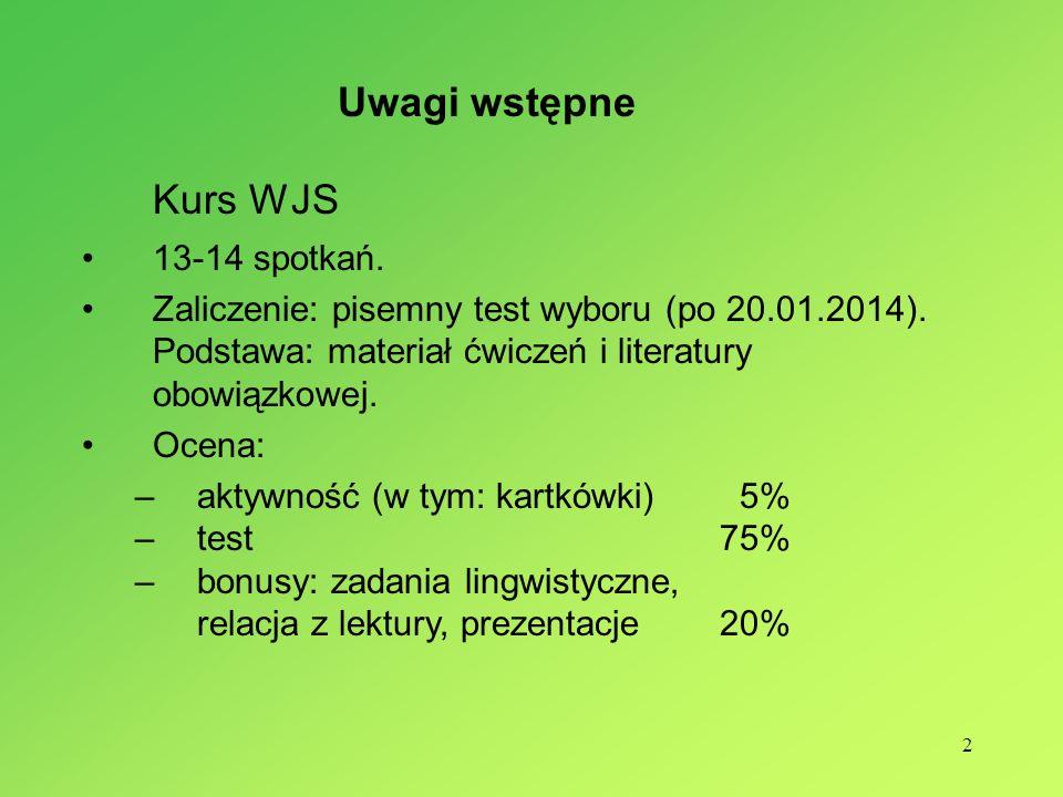 Kurs WJS Uwagi wstępne 13-14 spotkań.