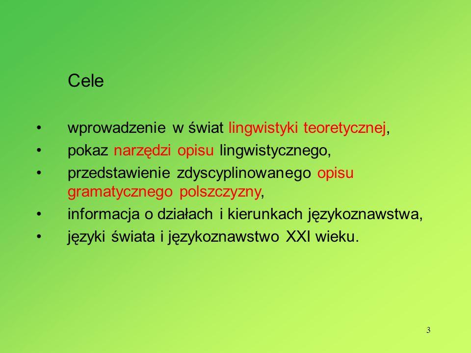 Cele wprowadzenie w świat lingwistyki teoretycznej,