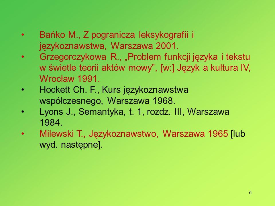Bańko M., Z pogranicza leksykografii i językoznawstwa, Warszawa 2001.