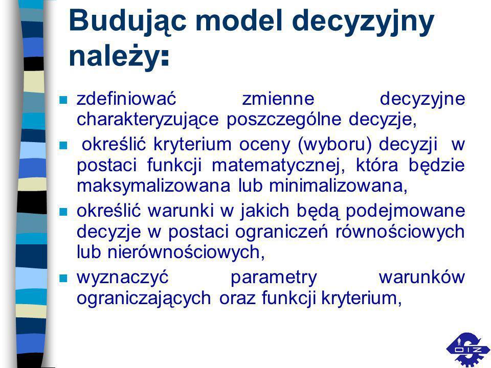 Budując model decyzyjny należy: