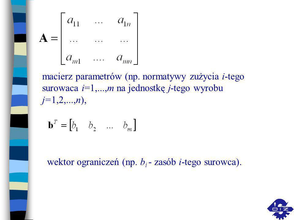macierz parametrów (np. normatywy zużycia i-tego surowaca i=1,